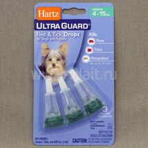 Капли Hartz Ultra Guard Drops for Dogs and Puppies инсектоакарицидные для собак и щенков от 1,8 до 7 кг, 1.1 мл 1.1 ml