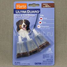 Капли Hartz Ultra Guard Drops for Dogs and Puppies инсектоакарицидные для собак и щенков, более 27 кг, 5.9 мл 5.9 ml