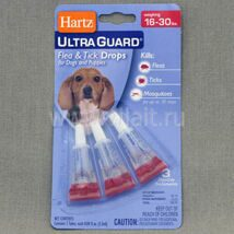 Капли Hartz Ultra Guard Drops for Dogs and Puppies инсектоакарицидные для собак и щенков, от 7 до 13,5 кг, 1.3 мл 1.3 ml